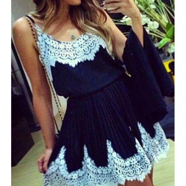 Spaghetti Strap Spliced Dress