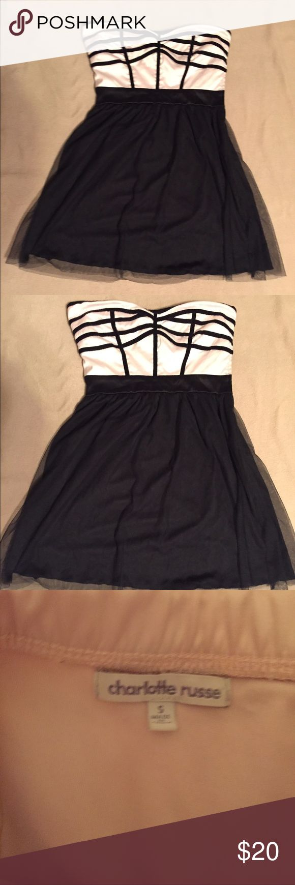 Charlotte Russe Tulle Dress Charlotte Russe dress.  Strapless pink top with black piping and black tulle skirt.  Size Small. Charlotte Russe Dresses Mini