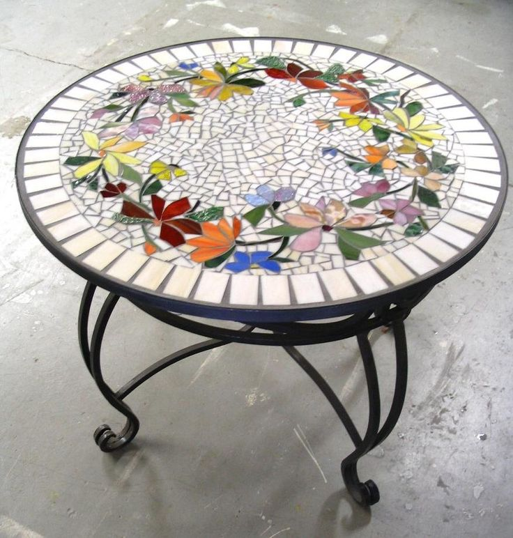 MOSAIC TABLE floral pattern CUSTOM stained glass inlaid iron furniture hand-made colorful table top by ParadiseMosaics on Etsy https://www.etsy.com/listing/200946769/mosaic-table-floral-pattern-custom