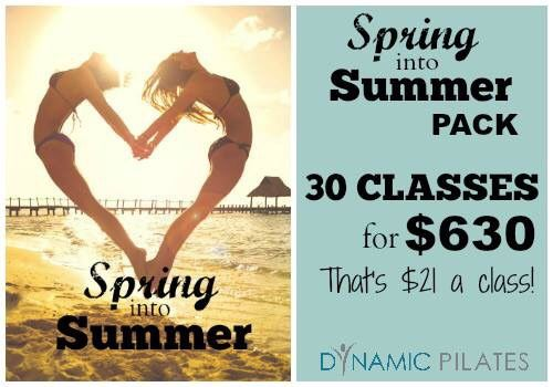 We've just launched our best value pack. Just in time to get beach ready for Summer. Spring into Summer Pack - 30 classes for $630 (8 month expiry). Purchase online - www.dynamicpilates.com.au