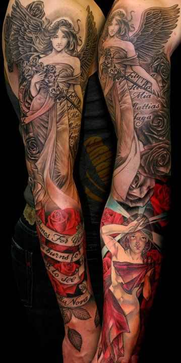 Tattoo by Niki Norberg from Wicked Tattoo in Göteborg, Sweden with Ulrika Van Den Bosch. This is a sleeve I enjoy.