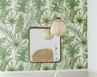 Tropical Pattern Wallpaper Exotic Removable von WallfloraShop
