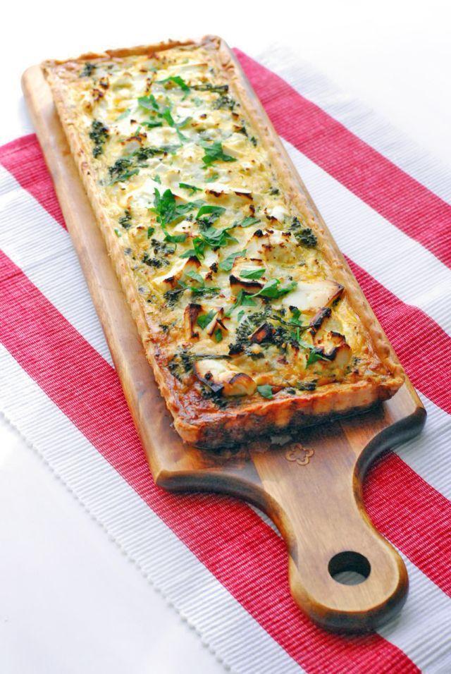 Broccoli and feta tart with parmesan crust