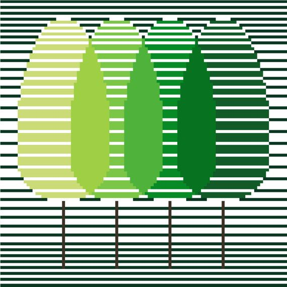 Minimalist cross stitch pattern of trees. This beautiful cross stitch design is extremely effective in its simplicity and is available at CrossStitchtheLine on Etsy