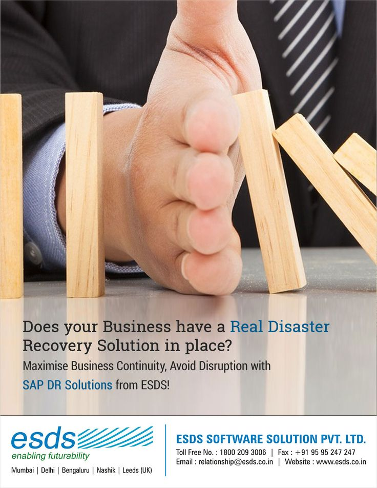 """""""Companies that can't resume normal operations within 10 days after a disaster, are unlikely to revive nor survive due to loss of data."""" Does your Business have a Real #DisasterRecovery & #BusinessContinuity Plan (#BCP) in place? Get a solution today, visit: https://www.esds.co.in/disaster-recovery-hosting.php"""