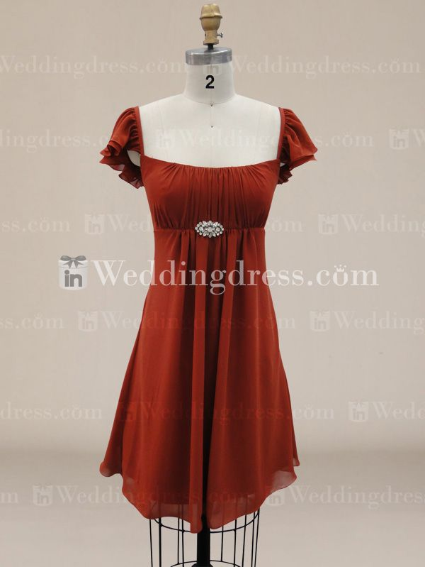 Casual Tank Top Bridesmaid Dress with Flutter Sleeves  http://www.inweddingdress.com/style-br050.html
