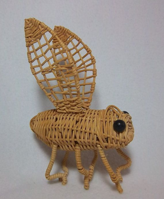 Wicker Bee Bug Figurine Potted Plant Accessory by DayJahView