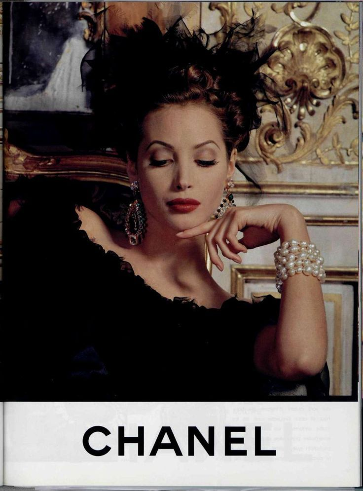Christy Turlington in an advertisement for Chanel, 1992. Description from pinterest.com. I searched for this on bing.com/images