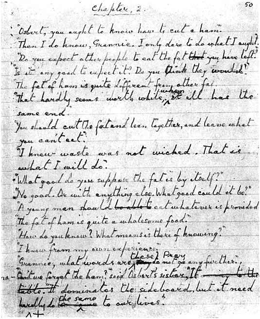 A manuscript page from Ivy Compton-Burnett's final novel, The Last and the First.