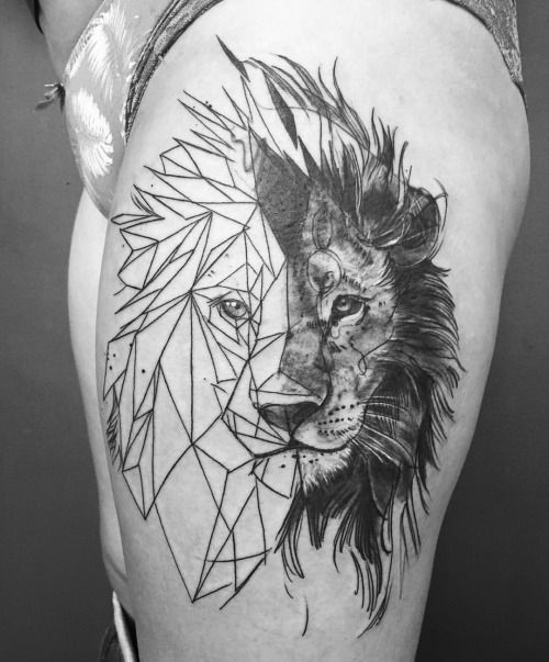 half geometric lion tattoo head tattoo design