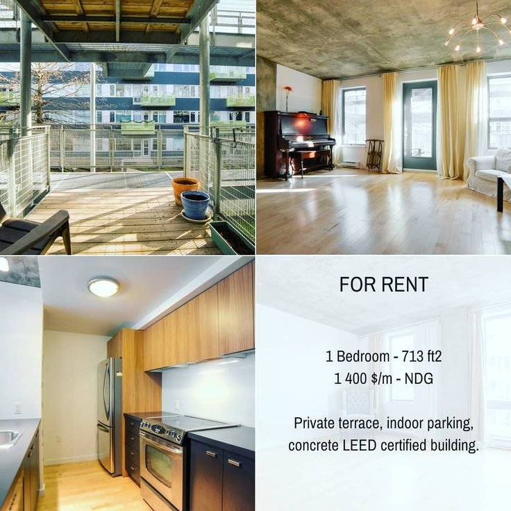 For rent in NDG : 1 bedroom condo with private terrace and garage in energy efficient and LEED certified building. #condo #NDG #montreal #realestate #realtor #broker #mtl #greenenergy #BennyFarms
