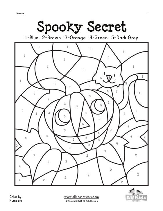 Free color by letter worksheets for kindergarten for Free printable halloween color by number pages