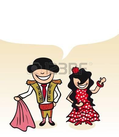 Hombre español y mujer pareja de dibujos animados con globo de diálogo. Ilustración vectorial en capas para facilitar la edición.
