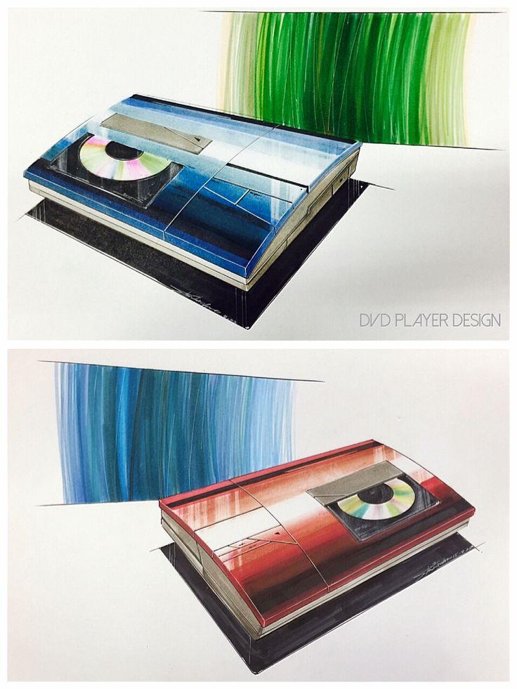 DVD player design Marker drawing  Pastel Uni 0.1mm/0.5mm