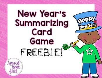 Ease back into school after the new year with this fun and easy-to-use card game! Your students will not only be able to practice their summarization skills, but they'll also be working on goals like sequencing, answering questions, and expressive vocabulary!
