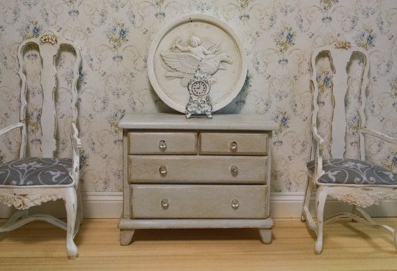 Gustavian Dresser in Aged Grey Finish Miniature by FrenchVellum