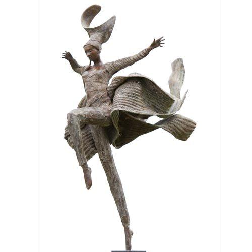 Kunst -brons beeld - Rieke van der Stoep - Jump