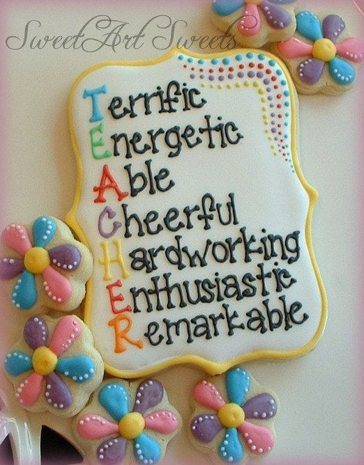 Teacher thank you cookies - teacher appreciation. Here's a picture of a cookie I want to make you, but won't be! lol awesome lettering!