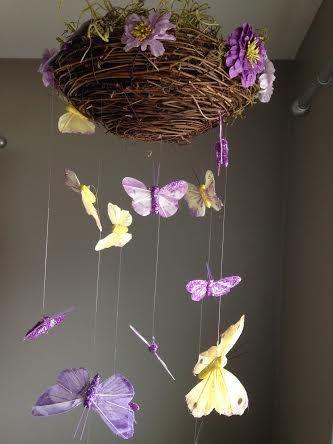 Jardín encantado de mariposa bebé móvil por inthe2doghouse en Etsy