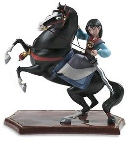 WDCC Disney Classics Mulan And Khan Triumphant #WDCCDisneyClassics #Art. Reins and Rear Legs (Khan): Bronze. Front legs and tail braid (Khan): Pewter. Medallions (Mulan and Khan): Pewter. Mulan's Sword: Pewter. Special Backstamp: Features 5th Anniversary backstamp. Mulan is the first release in the Walt Disney Classics Collection's new Heroes and Heroines series. Numbered Limited Edition (NLE) of 2,000.