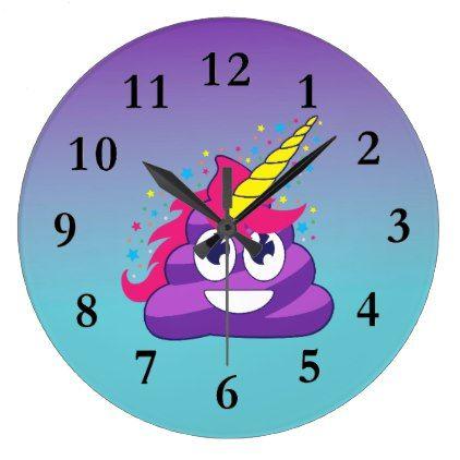 Purple Emoji Poop Unicorn Ombre Wall Clock - funny unicorn unique lol customize unicorns fun