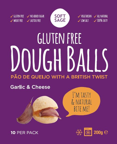 Gluten Free & Vegetarian, Garlic & Cheese flavour dough balls www.softsage.co.uk *glutenfree *vegetarian *lactofree
