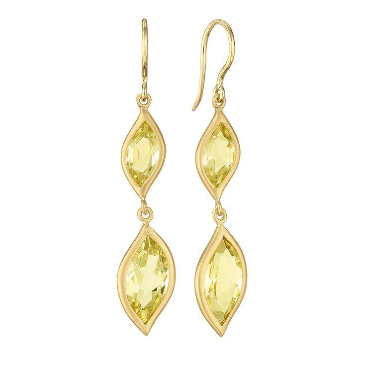 Carelle Jewelry - Leaf Lemon Quartz Double Drop Earrings, $1,085 (http://www.carelle.com/leaf-lemon-quartz-double-drop-earrings/)