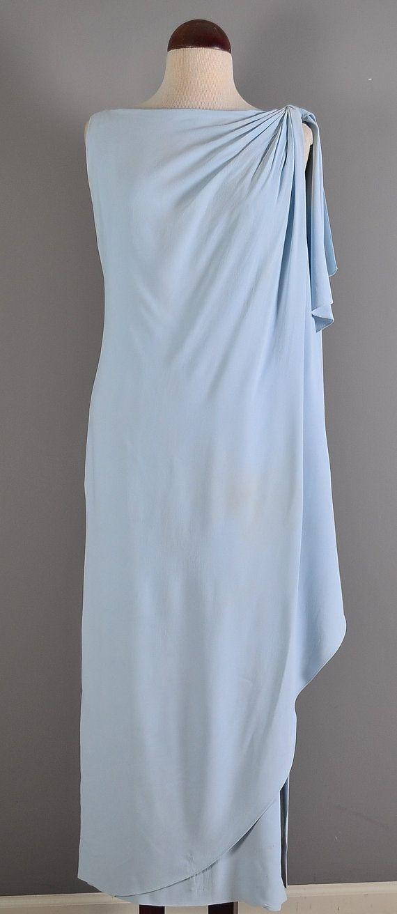 Vintage 60s Ice Blue Grecian Drape  idee drapage griekse godin