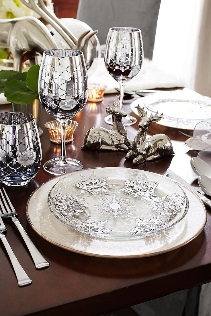 Just like every snowflake is unique, no two of these Pier 1 Snowflake Glass Salad Plates are alike. Each is hand-painted, so there are slight variations from plate to plate. The only difference between this and an actual snowflake is that these are much easier to collect. Place them with our Evelyn Dinnerware, our Regal Quatrefoil Glassware and plenty of silver accents for a sparkling New Year's Eve party.