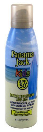 Panama Jack Continuous Spf#50+ Clear Spray Kids 6oz by Panama Jack. $9.99. The ultimate in protection and convenience.. This rub-free fast drying clear spray provides broad spectrum for a kinder sun.. INDICATIONS: The ultimate in protection and convenience. This rub-free fast drying clear spray provides broad spectrum for a kinder sun.. Save 23% Off!