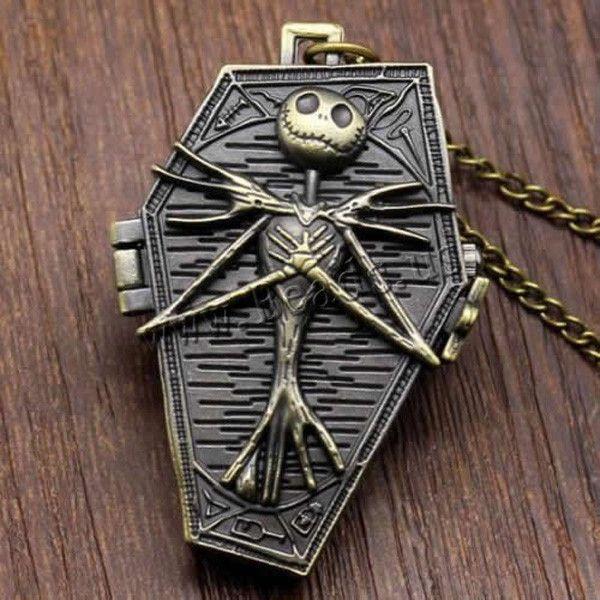 2015 Vintage Quartz Pocket Watch Nightmare Before Christmas Pocket Watch Skul Stainless Steel Chain Watches