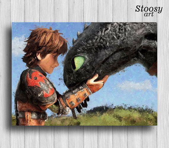 Wie trainieren Ihren Drachen Poster Kinderzimmer Geschenk zahnlos und Schluckauf Drache Aquarell Kunstdruck