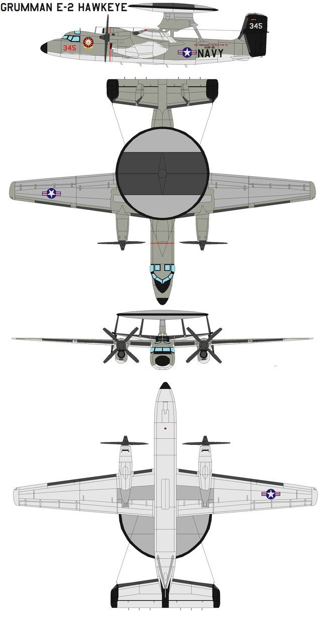 The Grumman E-2 Hawkeye is an American all-weather, aircraft carrier-
