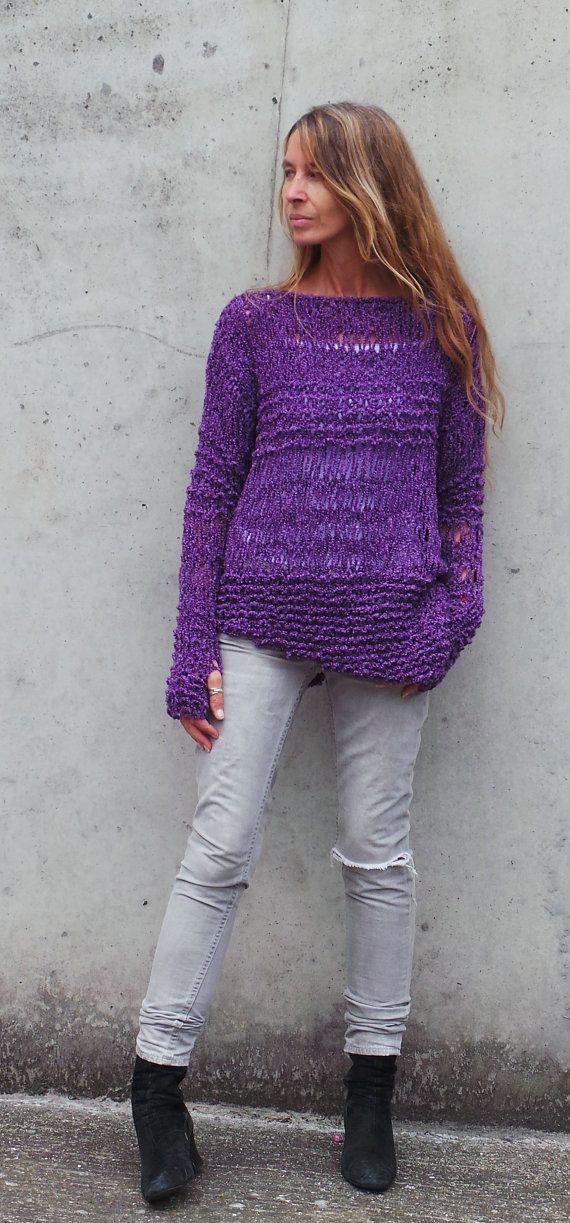 Purple sweater Womens Purple sweater asymmetrical grunge sweater handmade