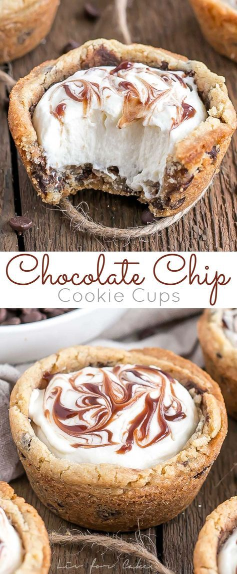 These chewy Chocolate Chip Cookie Cups are truly one of the easiest desserts you'll ever make. Filled with Vanilla Cream Cheese Mousse and a swirl of chocolate sauce.   http://livforcake.com