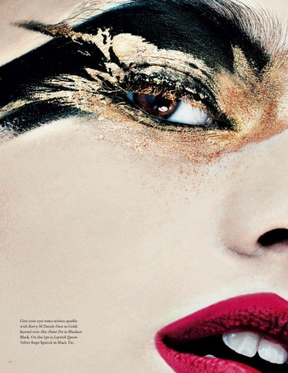 Graphic eyemakeup - notice the feather detail - winged - gold - metallic - eyes  LW9_Sarah_Jagger_Beauty-page3