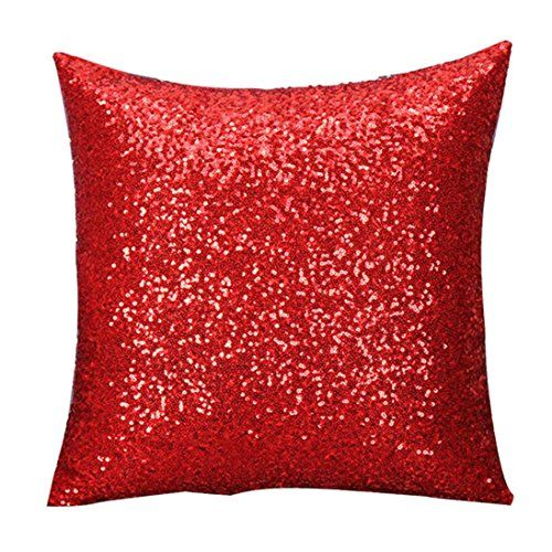 Stylish Comfy Solid Color Sequins Cushion Cover Throw Pil...