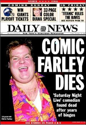 Image result for Chris Farley, 33, heroin and cocaine overdose