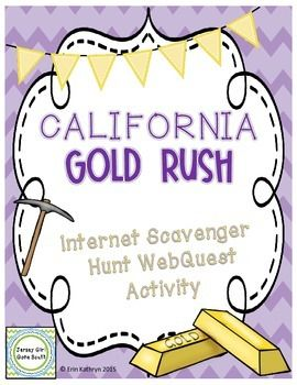 This internet scavenger hunt directs students to a website. Students will use the website about the California Gold Rush to answer questions provided on the worksheets. This is an awesome way to incorporate technology into your classroom!