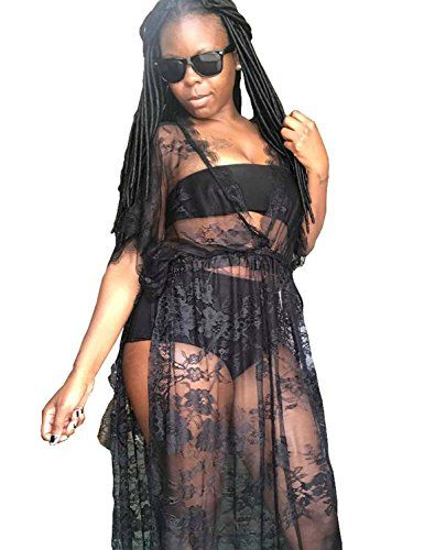 0921aca939053 Vivilover #Women Lace Plus Size #Swimsuit Coverup Beach Maxi Long Dress ( black)