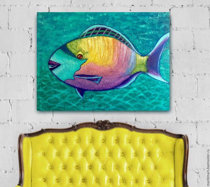 Купить Постер. Рыба-попугай - картина в подарок, картина для интерьера, картина…