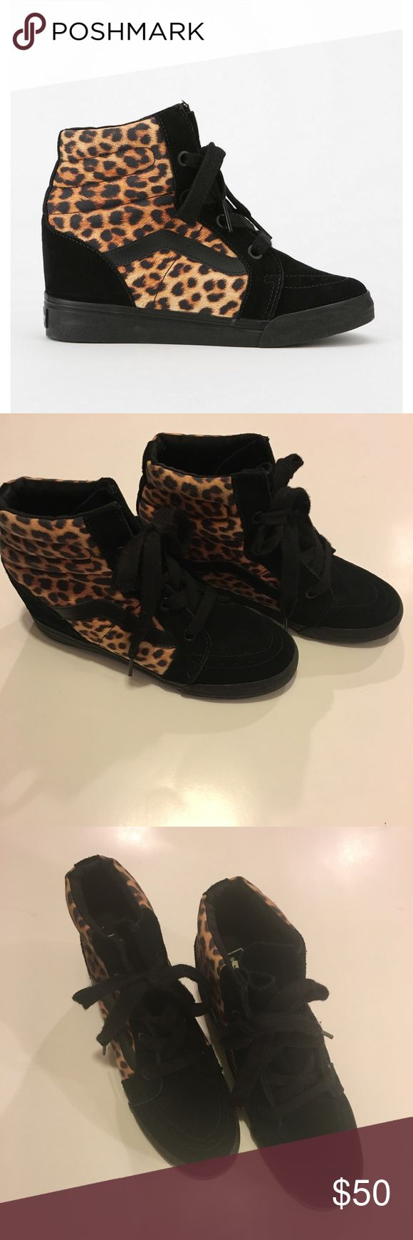 RARE Vans Sk8 Animal Print Hidden Wedges Super cute sz 9.5 cheetah wedge vans. These are in good condition and are such a unique shoe. Completely sold out and pretty hard to find this style.  Would be great paired with skinny jeans. Vans Shoes Sneakers