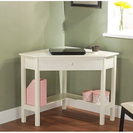 """Corner Writing Desk,Wooden corner desk constructed of wood and MDF / color Antique White. Wooden corner desk constructed of wood and MDF. 1 drawer for storage. Lower shelves are great for books or knickknacks. Dimensions: 42""""W x 28""""D x 30""""H."""