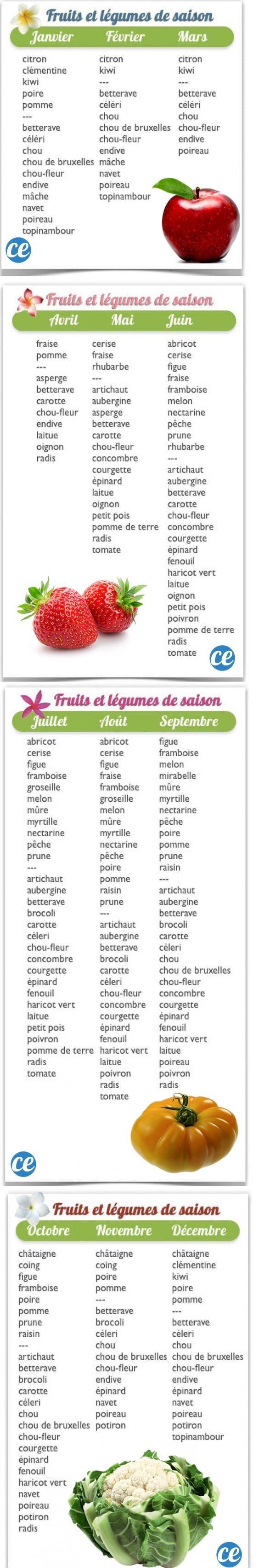 Quels Sont les Fruits et Légumes de Saison ? Le Tableau Pratique Et Gratuit.