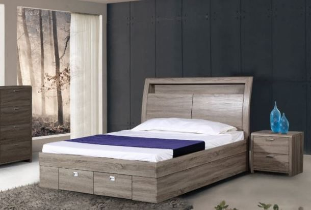 KING SINGLE INDIANA  TIMBERGRAIN LAMINATE  BED WITH GAS LIFT AND SINGLE BED END DRAWER - LIGHT OAK