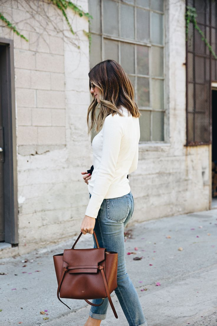 White Top, Jeans, Brown Bag
