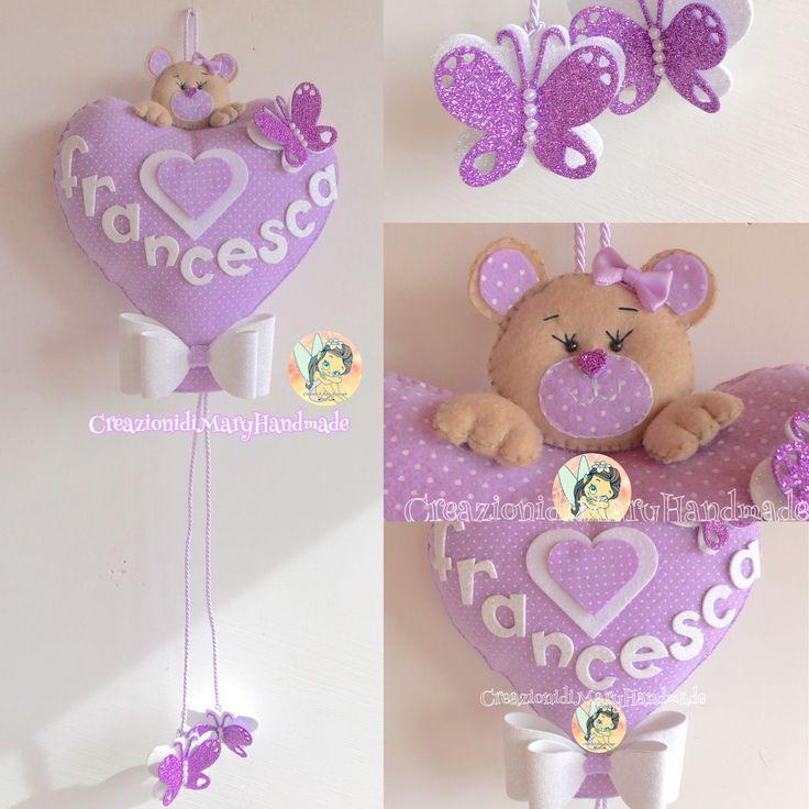 Fiocco nascita palloncino cuore con orsetto