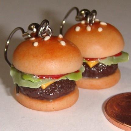 Cheeseburger earrings on Etsy