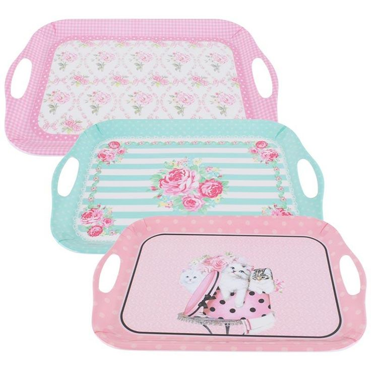 Colorful, romantic plastic #trays - Do you like them? #pink #floral www.inart.com