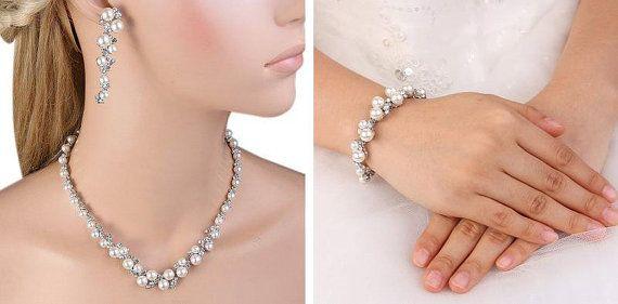 Bridal Pearl Jewelry Set  Wedding Jewelry by LeCoquetterieBridal  $85.00